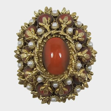 High-Domed Imitation Carnelian and Pearl Brooch