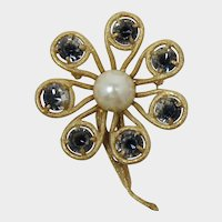 Large Flower Brooch with Clear and Black Striped Rhinestones