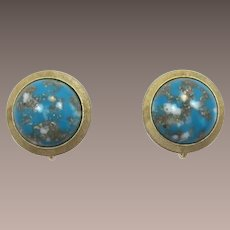 Trifari Faux Turquoise Matrix Cabochon Earrings