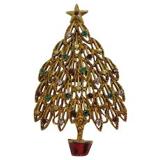 Sparkling Eisenberg Ice Christmas Tree Brooch with Enameled Pot