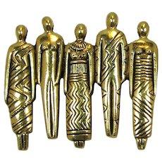 Laurel Burch Tribal People Brooch with Five Adult Figures
