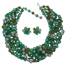 Brania Huge Green, Striped and Rhinestone Rondelle/Beaded Necklace Haute Couture