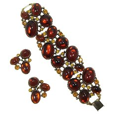Wide and Chunky Selro Bracelet with Burnt Orange Cabochons