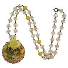 Bright Yellow Beaded Pendant Necklace with Peridot Green Rhinestones