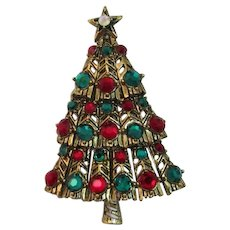 Hollycraft Red and Green Rhinestone Christmas Tree Pin