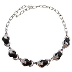 Emmons Silver-tone and Black Thermoplastic Necklace