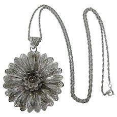 Beautiful Van Lou Sterling Filigree Flower Pendant Necklace