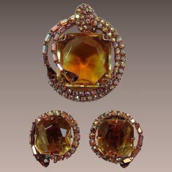 Topaz Brooch and Earrings with Huge Bi-Color Rhinestones
