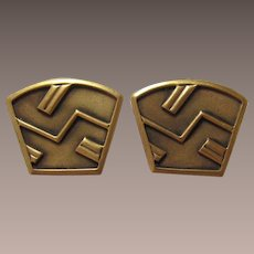 Large Monet Matte Bronze-tone Modernist Earrings