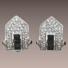 Deco Style Carolee Clear and Black Rhinestone Earrings