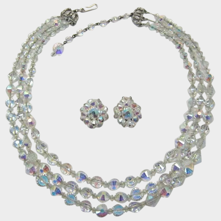 Vintage Beaded Necklace and Earrings Set; Blue Green Aurora Borealis Glass Beads; Multifaceted Crystal