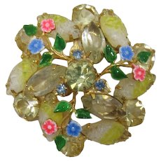 Yellow Givre' and Rhinestone Navette Spring-time Brooch