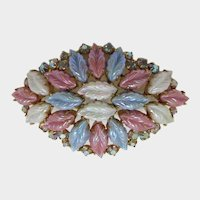 Blue, Pink and White Molded Navette Leafy Brooch