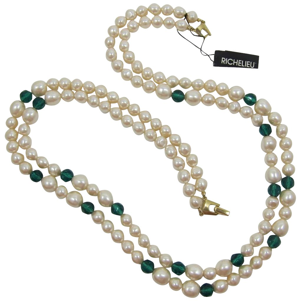 Richelieu Two Strand Imitation Pearl And Emerald Green Beaded