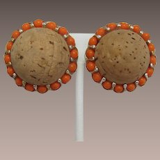 Huge Funky Domed Cork Earrings with Orange Ballatini Balls