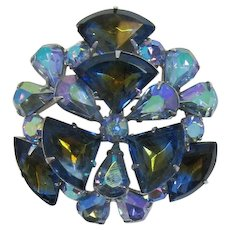 Tiered Brooch with Blue and Olivine Infused Rhinestones