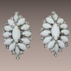 Opaque White and Clear Rhinestone Earrings