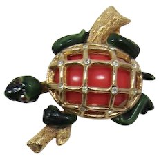 Darling HAR Enameled Turtle on a Log Brooch
