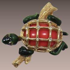 Darling HAR Enameled Turtle on a Log Brooch