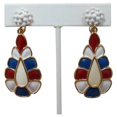 Hollycraft Patriotic Red, White and Blue Enamel Dangling Earrings
