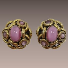 High-Domed Gold-tone and Pink Cabochon Earrings
