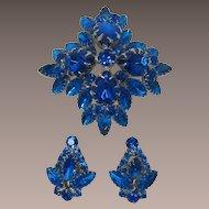 Cobalt Blue and Capri Blue Rhinestone High-Domed Brooch and Earring Set