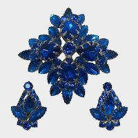 Cobalt Blue and Capri Blue High-Domed Brooch and Earring Set