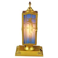 DeVilbiss Art Deco 2 Door Blue Perfume Lamp with Gold Parrots