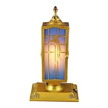 DeVilbiss Art Deco 2 Door Blue Perfume Lamp with Gold Parrots