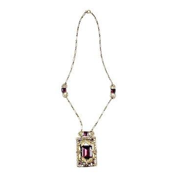 Czech Art Deco Amethyst Necklace