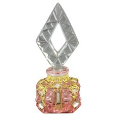 Czech Art Deco Jeweled Mini Perfume Bottle