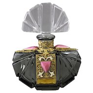 Czech Jeweled Art Deco Jeweled Perfume Bottle