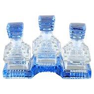 Czech Art Deco Triple Set Perfume Bottles and Tray