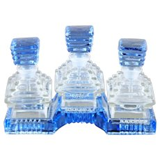 Czech Art Deco Triple Set Perfume Bottles and Tray