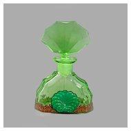 Czech Art Deco Jeweled Perfume Bottle