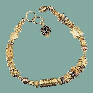 Bracelet ~ GILDED CELEBRATION II ~ Vermeil & Gold-Fill, Swarovski Crystals, Bali Findings