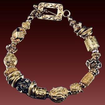 Bracelet ~ CELEBRATION ~ Vermeil and Gold-fill, BaliBeads,SwarovskiCrystal