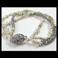 Bracelet ~ SILVER MARTINI ~ 3 Strands of Molten Silver & Gemstones