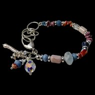 Bracelet ~ PINK MARZIPAN ~ Peruvian Opal, Aquamarine, Spiny Oyster, Sterling Silver