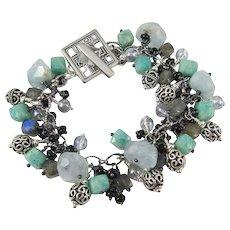 Charm Bracelet ~ SONG OF SIRENS ~ Amazonite, Aquamarine, Labradorite, Sterling Silver
