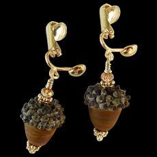 Drop Earrings ~ AUTUMN BROWNIES ~ Artisan Lampwork, Vermeil , Swarovski Crystals