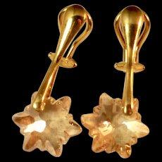 Clip On Drop Earrings ~ GOLDEN EDELWEISS ~ Swarovski Crystal and Vermeil