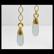 Drop Earrings ~ DAYDREAMS ~ Aquamarine, 22Kt Gold Leaf, Gold-Fill  & Vermeil