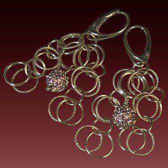 Drop Earrings ~ BLUSHING DIVAS ~ Sterling Chain, Swarovski Crystal