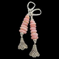 Drop Earrings ~ BALLET SLIPPERS ~ Pink Peruvian Opal, Bali Sterling Silver