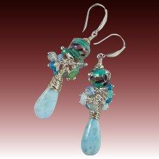 Drop Earrings ~ BLUEBIRD OF HAPPINESS ~ Larimar, Artisan Lampwork, Blue Gemstones, Sterling Silver