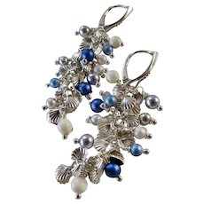 """Drop Earrings ~ from the """"Mermaid Parade"""" Collection ~ Sterling & Swarovski"""