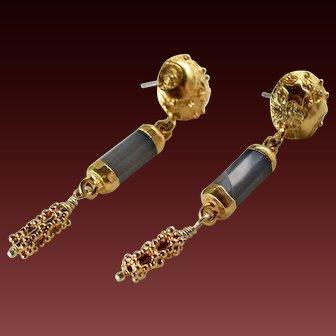 Drop Earrings ~ GILDED CELEBRATIONS ~ Blue Chalcedony, Vermeil, Gold Fill