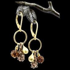 Charm Earrings ~ GILDED CELEBRATIONS III ~ Vermeil, Gold-fill, Bronze,Swarovski Crystals