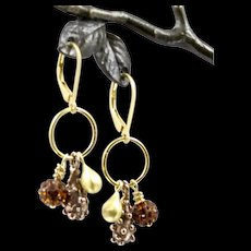 Charm Earrings ~ GILDED CELEBRATIONS III ~ Vermeil, Gold-fill, Bronze,Swarovski Crystals